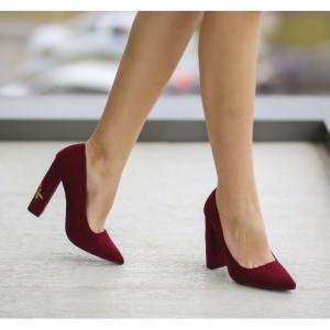 pantofi grena cu toc gros