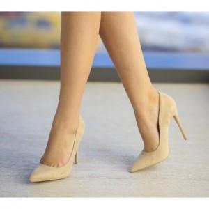 pantofi stiletto bej catifea