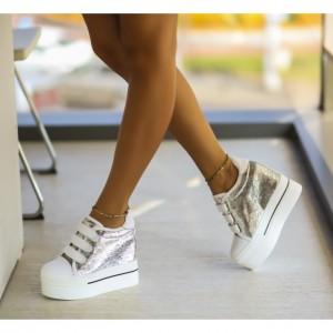 pantofi sport argintii cu platforma