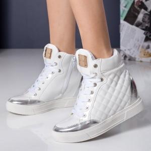 sneakers albi cu argintiu