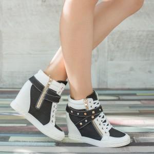 sneakers albi cu negru