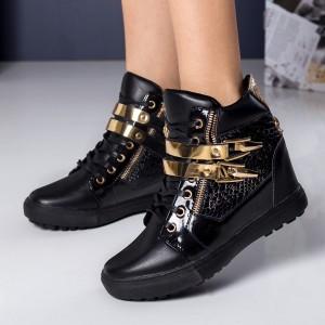 sneakers negrii cu auriu