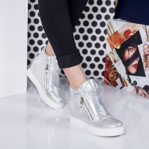 adidasi cu platforma argintii