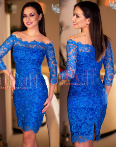 rochie albastra eleganta pentru cununia civila