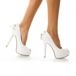 pantofi albi cu decor spate