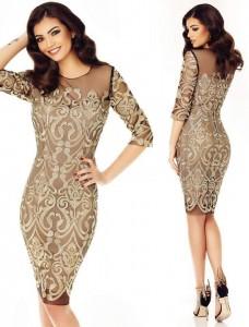 rochie aurie cu dantela pretioasa