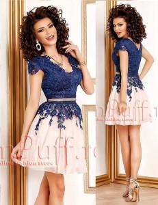 rochie cu dantela bleumarin