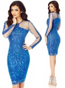 rochie albastra din dantela cu maneca lunga
