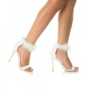 sandale albe cu puf