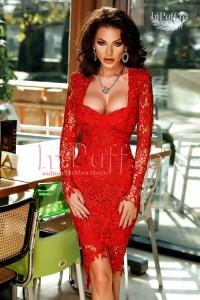 rochie rosie treisferturi din dantela