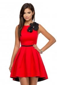 rochie rosie asimetrica