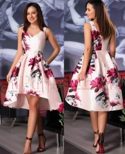 rochie asimetrica cu imprimeu floral