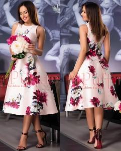 rochie pana la genunchi cu imprimeu floral