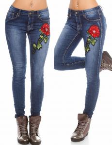 jeans gri cu broderie