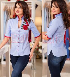 camasa bleu cu broderie rosie