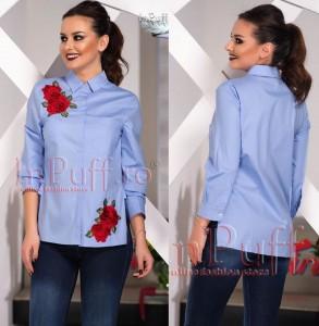 camasa albastra cu trandafiri