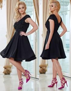 rochie banchet neagra cu bust sclipitor