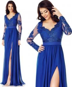 Rochie lunga albastra din dantela