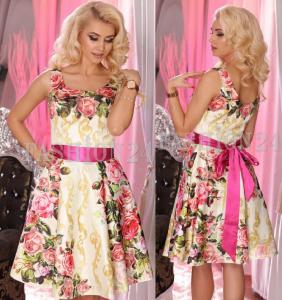 Rochie banchet roz cu imprimeu