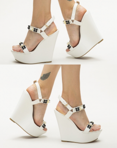 Sandale cu platforme albe