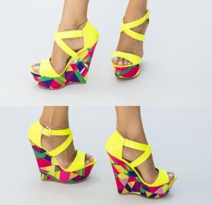 Sandale cu platforma galbene