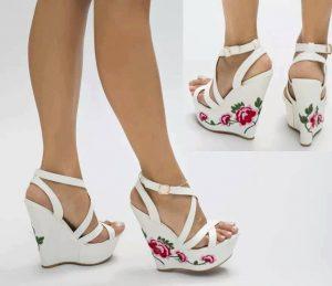 sandale de vara cu platforma albe