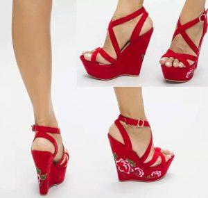 Sandale rosii cu pletforma