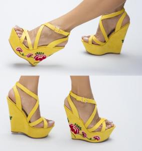 Sandale de vara galbene cu platforma