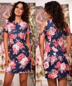 rochie de vara cu imprimeu floral si umeri decupati