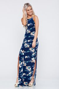 Rochie lunga de vara cu imprimeuri florale