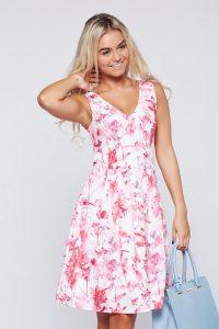 rochie de vara alb cu roz