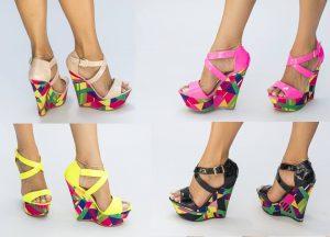 Sandale cu platforma multicolora