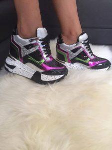 Pantofi sport negru cu violet
