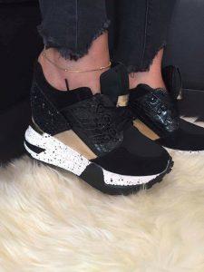 pantofi sport cu toc negrii