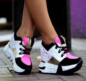 pantofi cu platforma roz cu alb