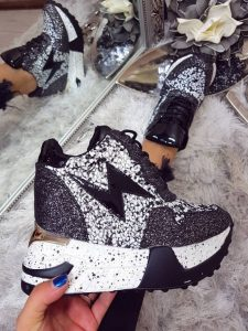 Pantofi sport negrii cu platforma si sclipici