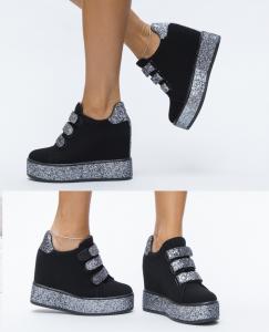 pantofi sport negrii cu sclipici argintiu