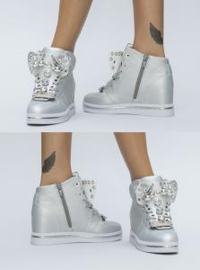 pantofi sport argintii cu funda