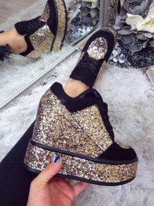 pantofi sport cu platforma aurii