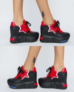 pantofi sport negri cu stea rosie