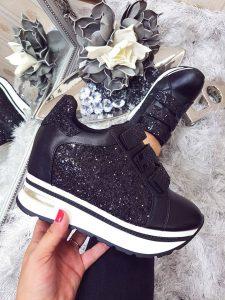 pantofi casual negrii cu sclipici