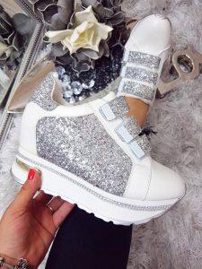 pantofi sport albi cu sclipici