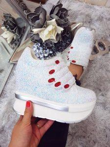 pantofi casual albi cu platforma