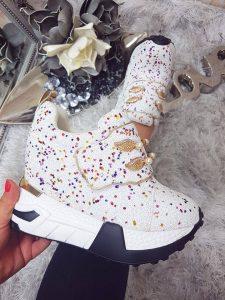 pantofi sport cu talpa inalta albi
