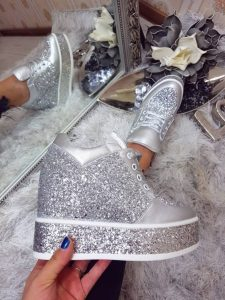 pantofi casual cu platforma argintii