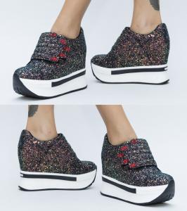 pantofi cu platforma negri