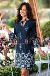 rochie cu maneci clopot bleumarin