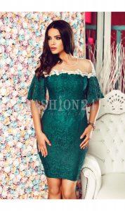 rochie verde cu maneci scurte