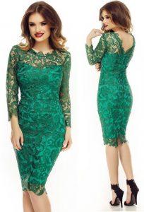 Rochie din dantela verde cu maneci lungi