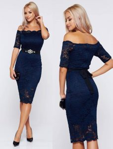rochie bleumarin din dantela